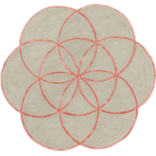 Lotus Flower Rug Pink Wool Viscose