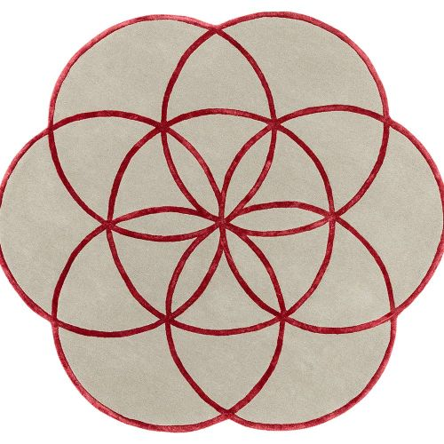 Lotus Flower Rug Red Wool Viscose