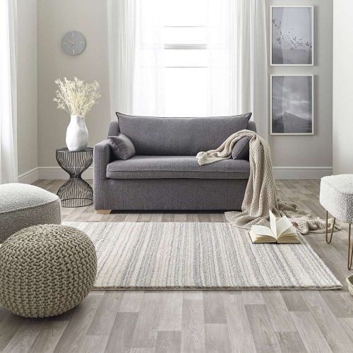 Maison Grey White 3D Rug 7887C Stripes