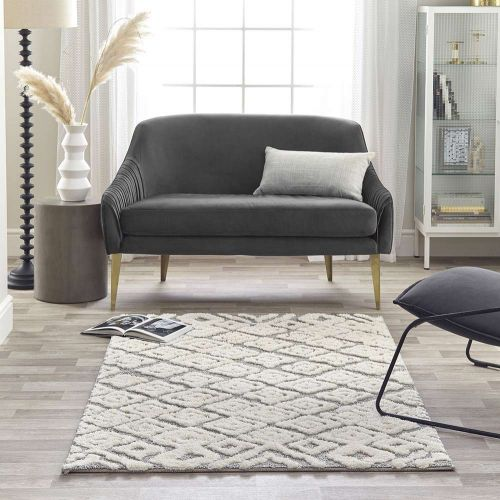 Maison White Grey 3D Rug 7721A Geometric