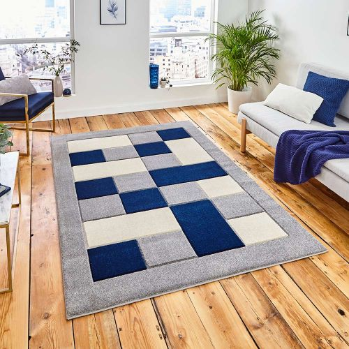 Matrix MT04 Grey Navy Rug