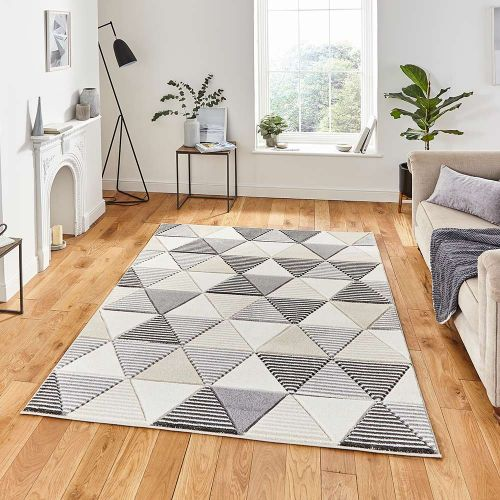 Matrix MT15 Geometric Grey Beige Rug