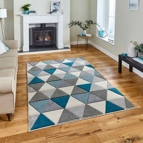 Matrix MT15 Geometric Grey Blue Rug