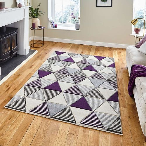 Matrix MT15 Geometric Grey Purple Rug