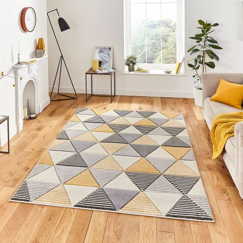 Matrix MT15 Geometric Grey Yellow Rug