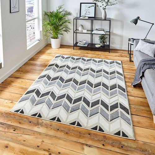 Matrix MT24 Geometric Grey Beige Rug