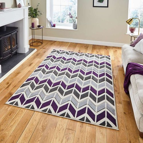 Matrix MT24 Geometric Grey Purple Rug