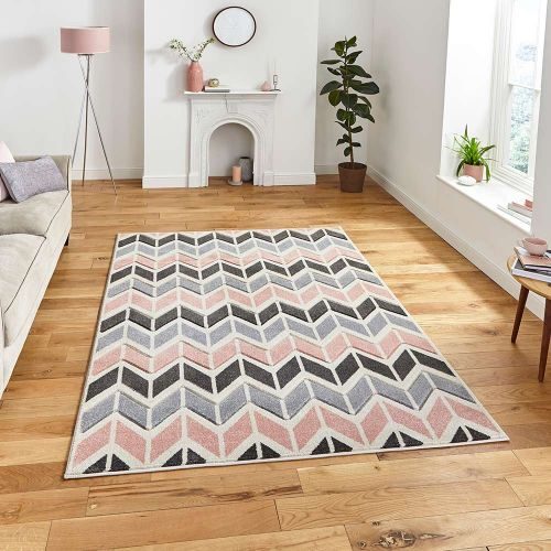 Matrix MT24 Geometric Grey Rose Rug