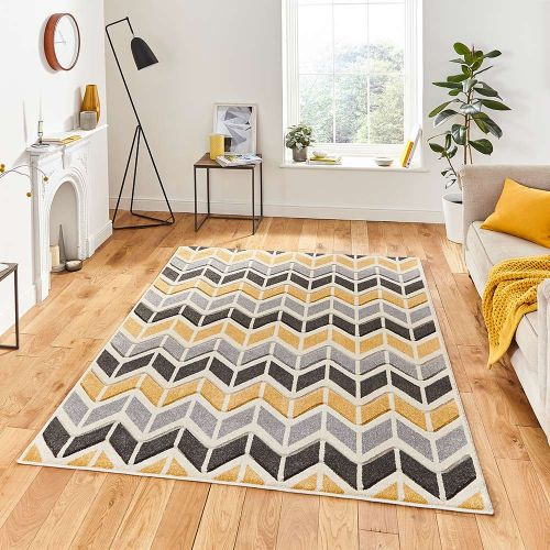 Matrix MT24 Geometric Grey Yellow Rug