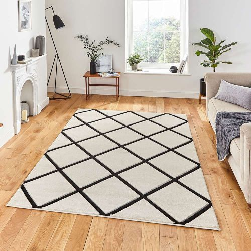 Matrix MT35 Diamonds Cream Black Rug