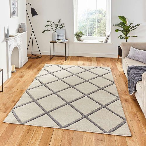 Matrix MT35 Diamonds Cream Grey Rug