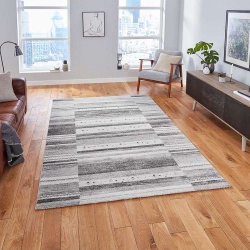Milano N9534 Striped Grey Rug