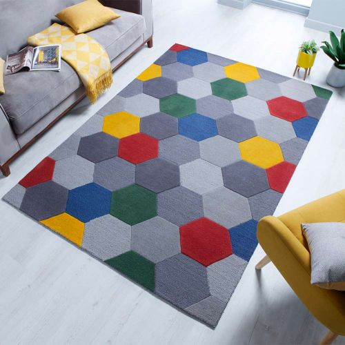 Munro Multi Yellow Red Coloured Geomtric Styled Rug