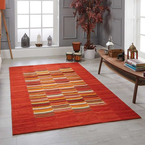 Navajo Stripe Red Wool Handmade Rug