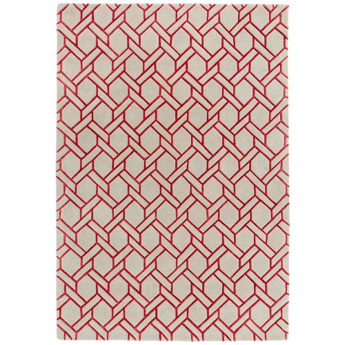 Nexus Rug Fine Lines Silver Red