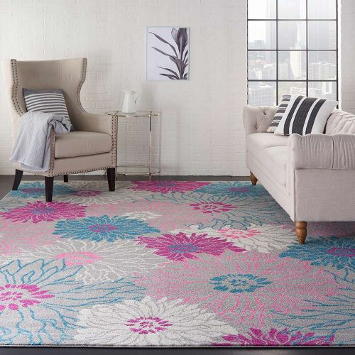 Floral Passion PSN17 Blue Pink Rug