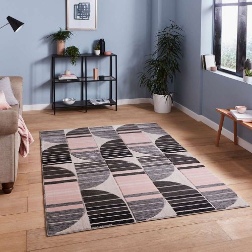 Pembroke HB33 Geometric Grey Rose Rug