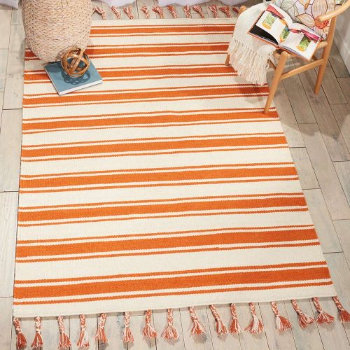 Rio Vista Dhurrie Rug DST01 Ivory Orange