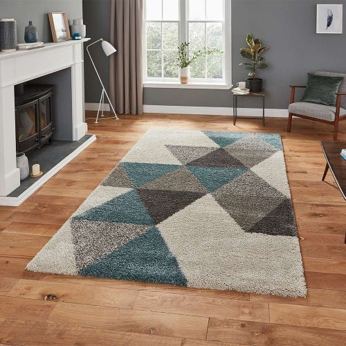 Royal 5741 Nomadic Diamonds Cream Teal Rug