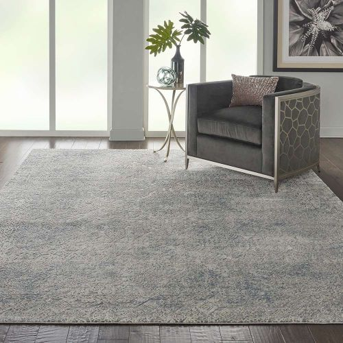 Abstract Rustic Textures RUS09 Ivory Light Blue Rug