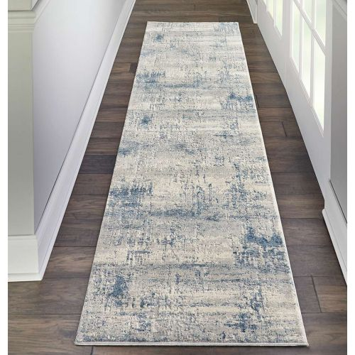 Abstract Rustic Textures RUS10 Ivory Blue Rug