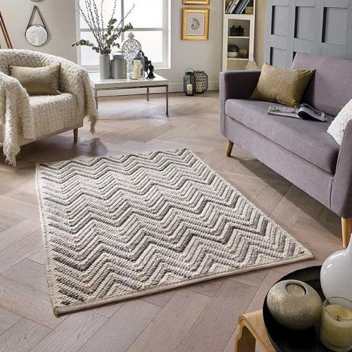 Savannah Rug Chevron Grey Ivory