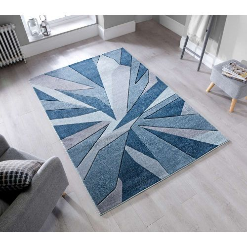 Geometric Shatter Denim Blue Rug