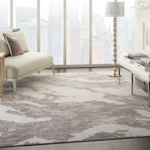 Abstract Silky Textures SLY03 Brown Ivory Rug
