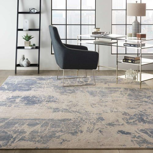 Abstract Silky Textures SLY02 Blue Cream Rug