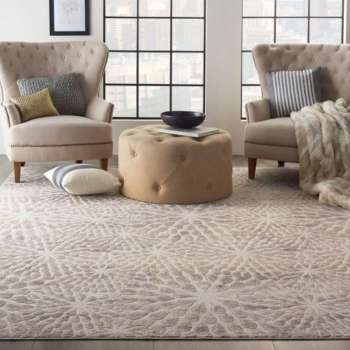Abstract Silky Textures SLY07 Ivory Beige Rug