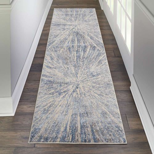 Abstract Silky Textures SLY05 Blue Ivory Grey Rug