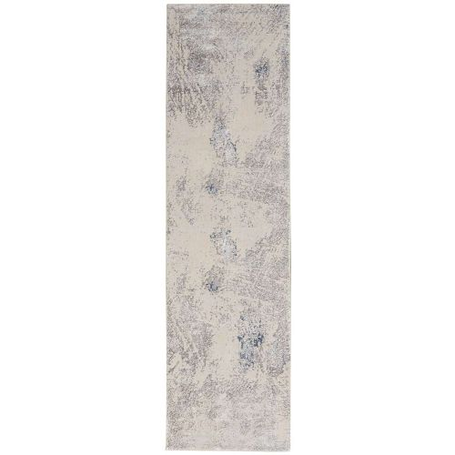 Abstract Silky Textures SLY06 Ivory Grey Rug