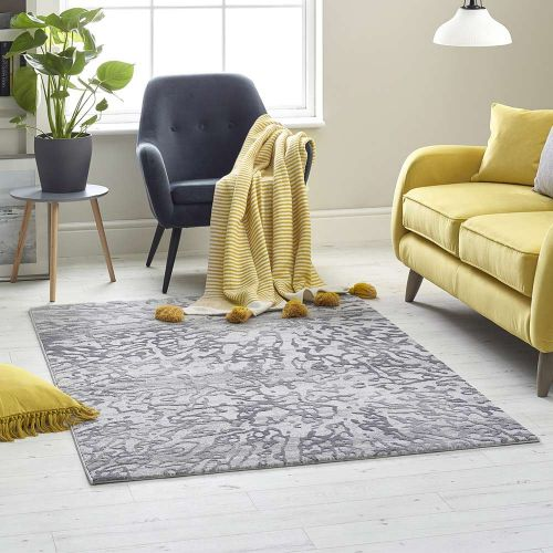 Silver Grey Abstract Rug High Rise 6321A