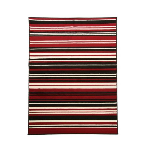 Red Black Stripes Rug