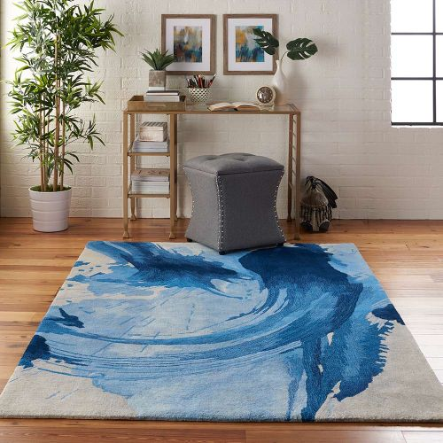 Abstract Symmetry SMM01 Blue Ivory Rug