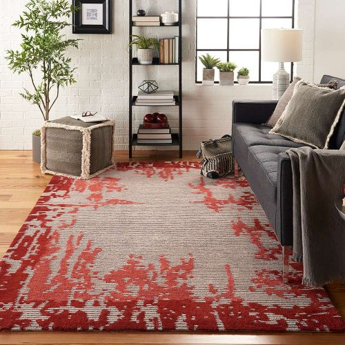 Abstract Symmetry SMM02 Beige Red Rug