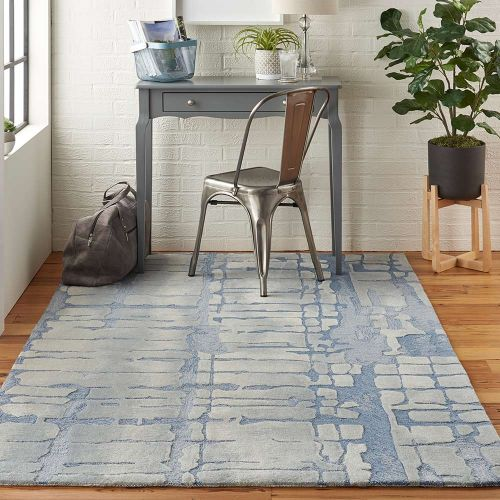 Abstract Symmetry SMM04 Blue Grey Rug