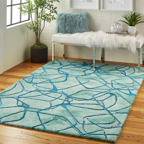 Abstract Symmetry SMM05 Aqua Blue Rug