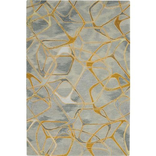 Abstract Symmetry SMM05 Grey Yellow Rug