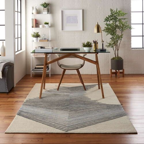 Abstract Symmetry SMM06 Ivory Grey Rug