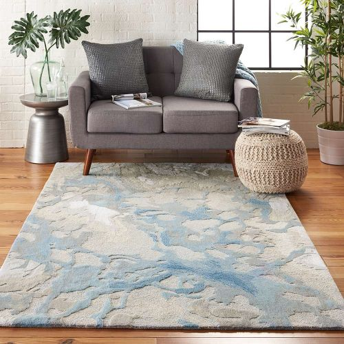 Abstract Symmetry SMM07 Light Blue Ivory Rug