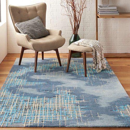 Abstract Symmetry SMM08 Blue Beige Rug