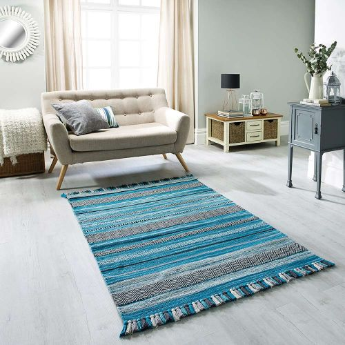 On Sale Kelim Stripe Teal Large Ethnic Handwoven Rug 160x230cm