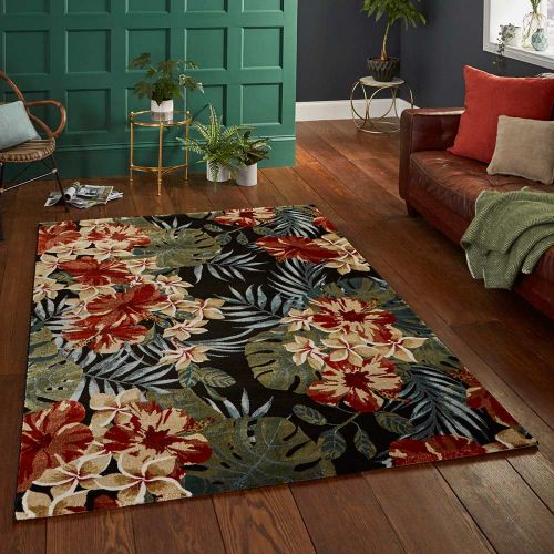 Black Multicolour Rug 6096 Tropics