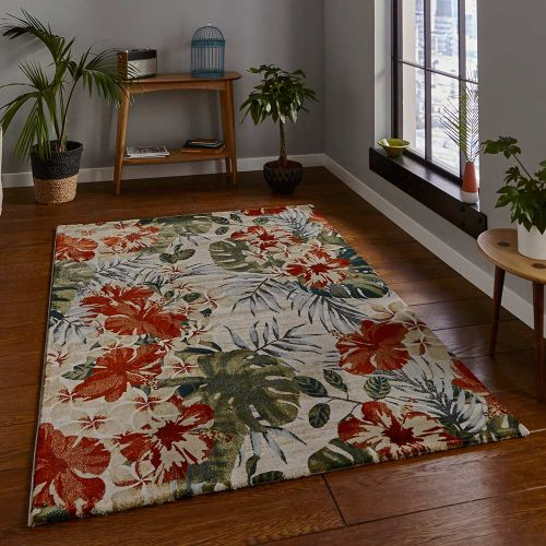 Cream Multicolour Rug 6096 Tropics