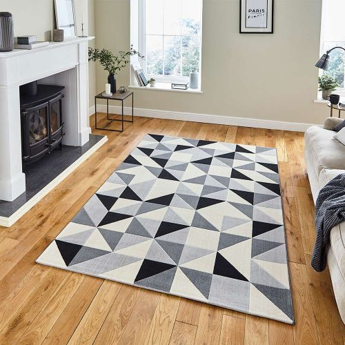 Vancouver 18214 Geometric Grey Black Rug
