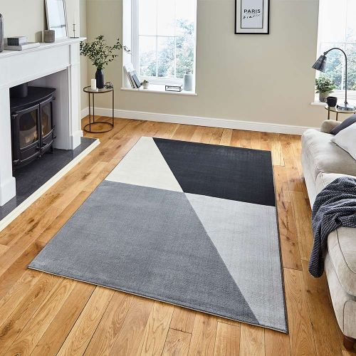 Vancouver 18487 Geometric Grey Black Rug