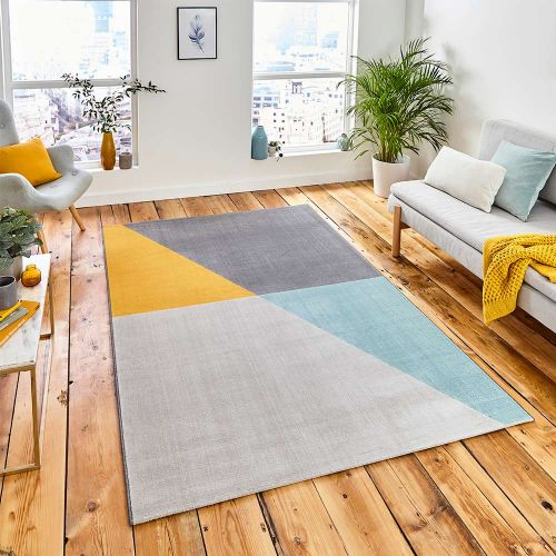 Vancouver 18487 Geometric Grey Blue Yellow Rug