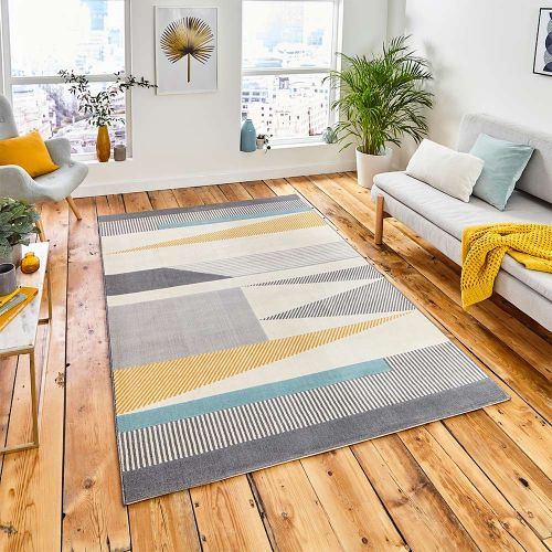 Vancouver 18488 Geometric Grey Blue Yellow Rug
