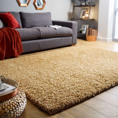 Veloce Gold Shaggy Rug